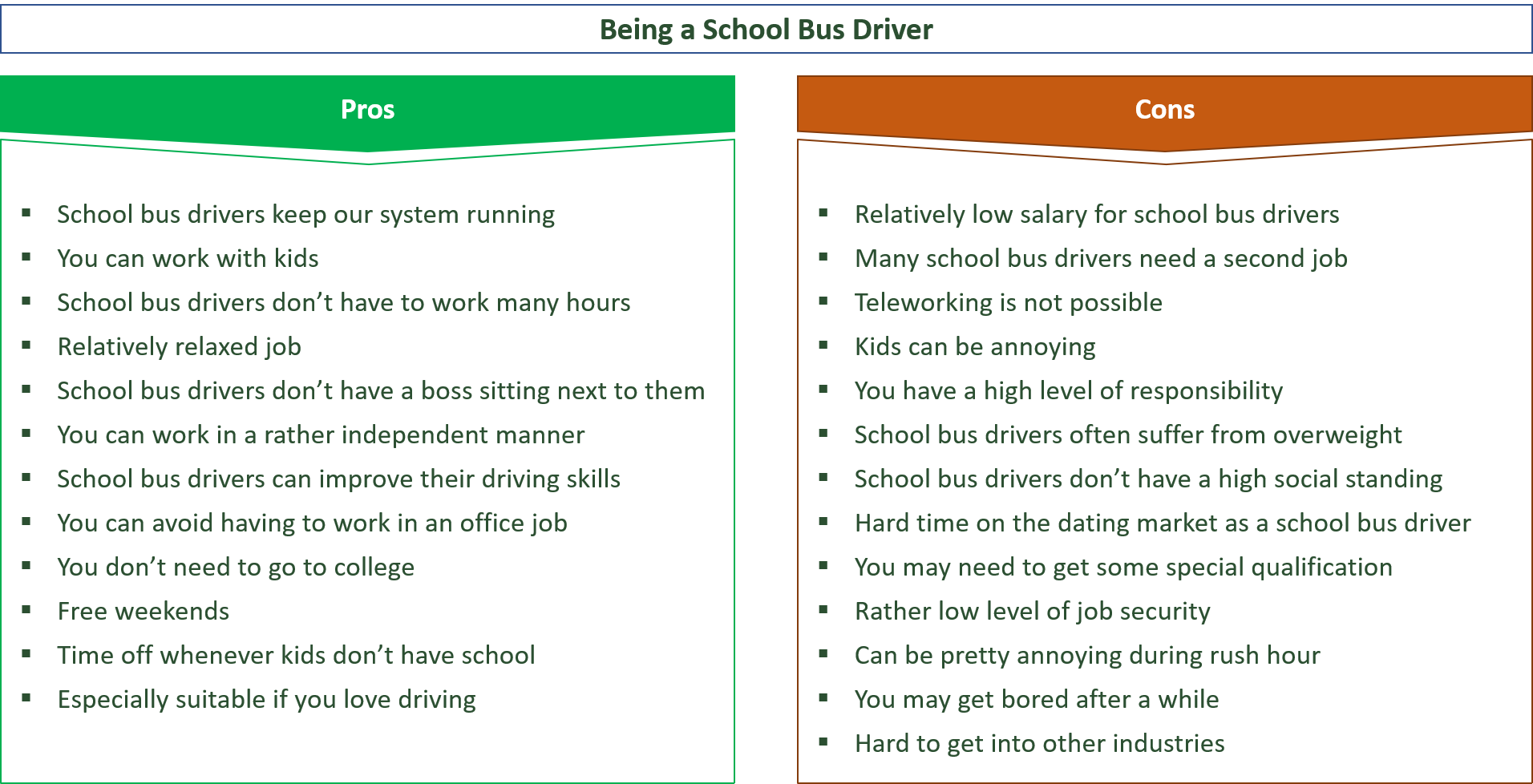 advantages and disadvantages of being a school bus driver