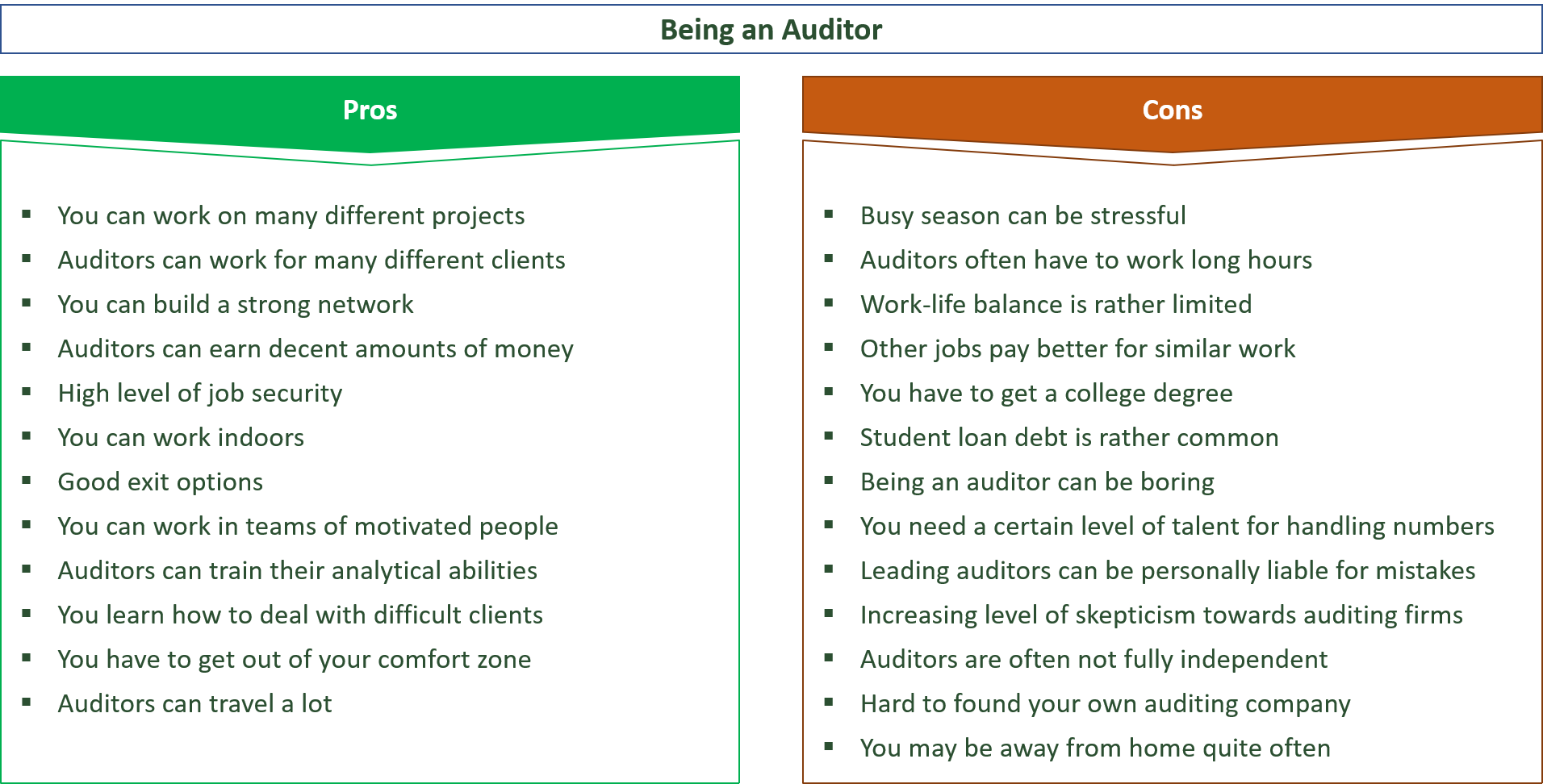advantages and disadvantages of being an auditor