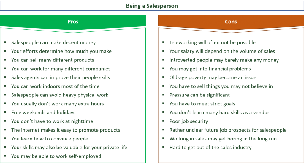 advantages and disadvantages of being a salesperson