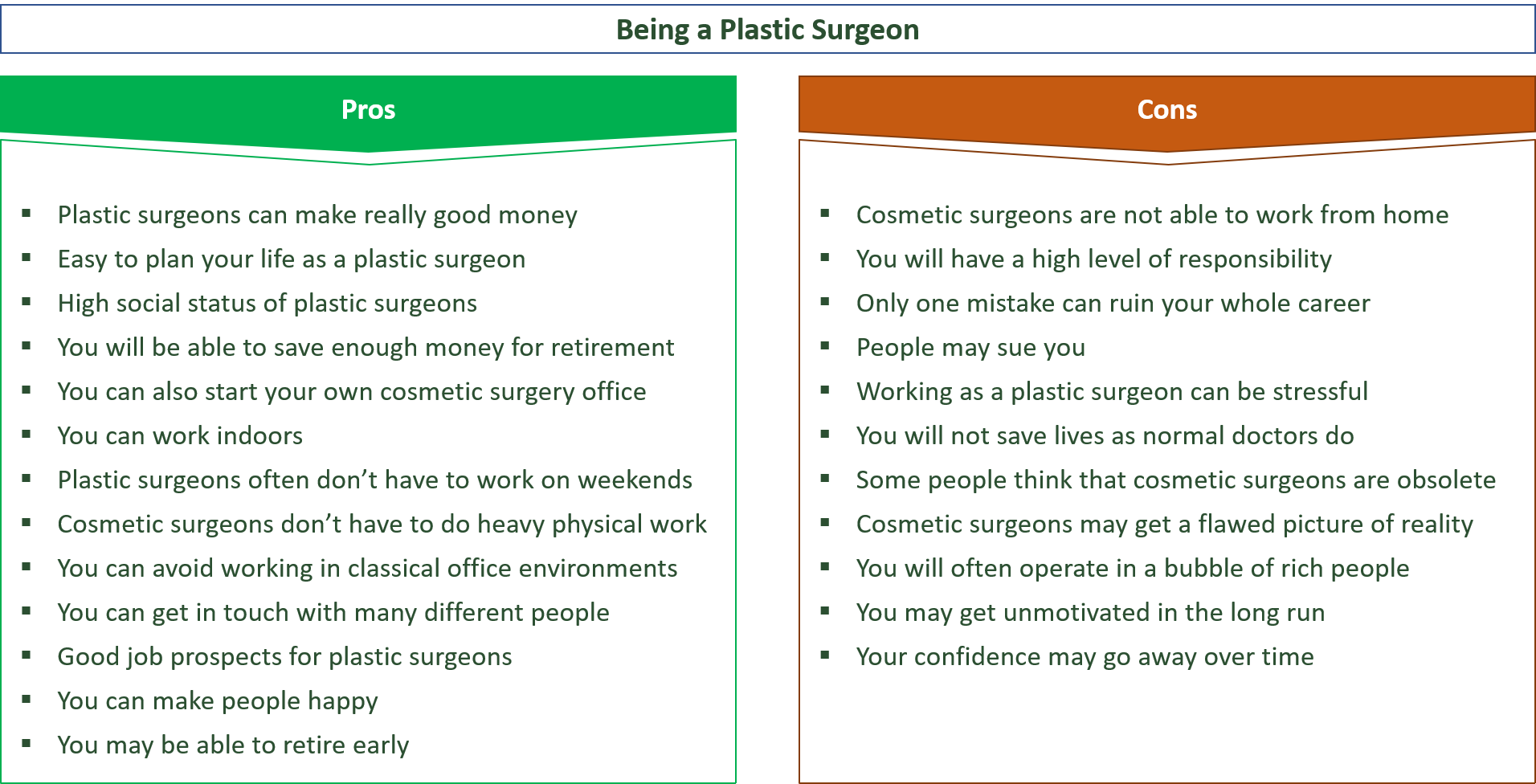 advantages and disadvantages of being a plastic surgeon